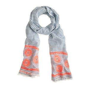 J.Crew Embroidered Floral Stripe Scarf